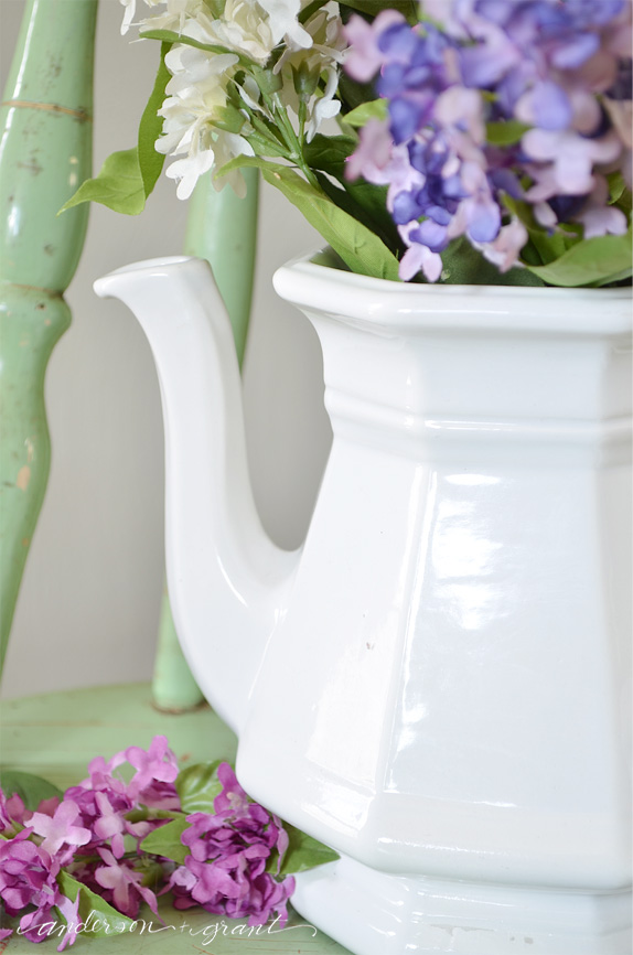 Thrift store white ironstone teapot | anderson + grant