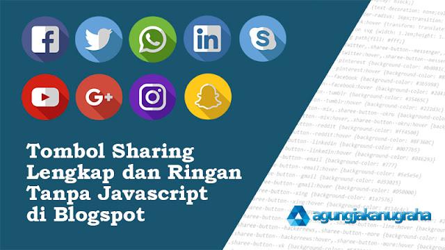 Tombol Sharing Lengkap dan Ringan Tanpa Javascript di Blogspot