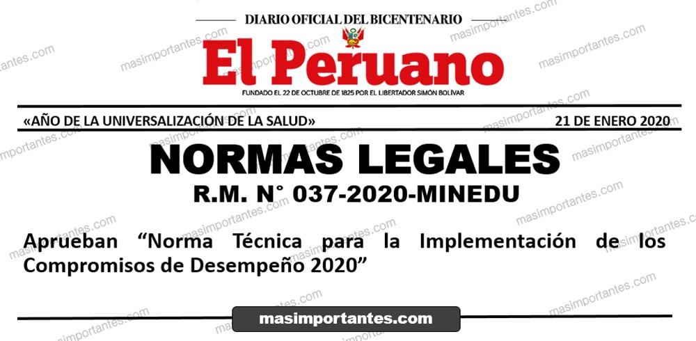 Norma Técnica para la Implementación de los Compromisos de Desempeño 2020