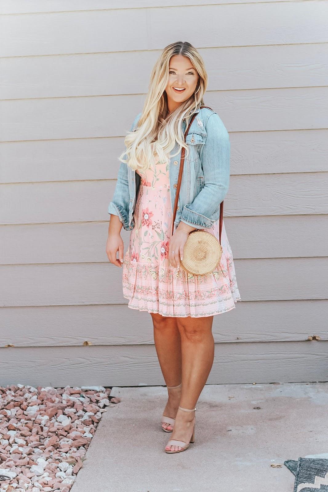 Pink Floral Dress and Denim Jacket styled by popular Denver fashion blogger, Delayna Denaye