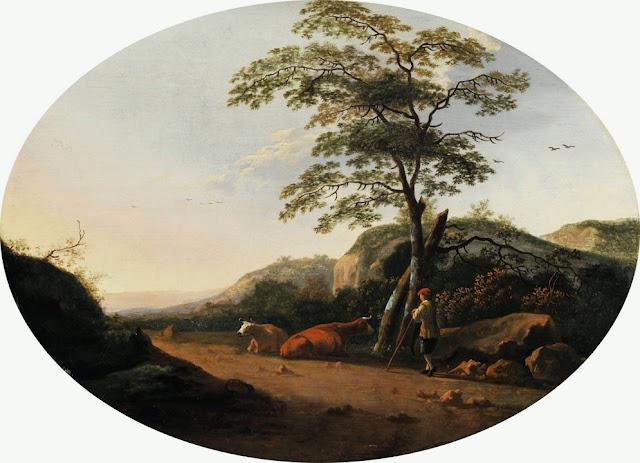 Альберт Кёйп - Пейзаж с пастухом и коровами