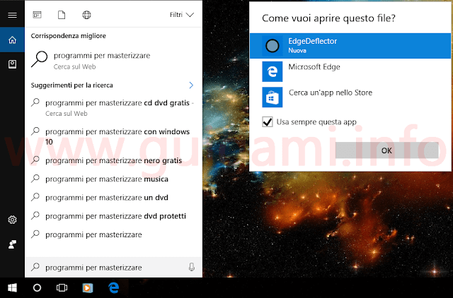Ricerca Cortana con EdgeDeflector