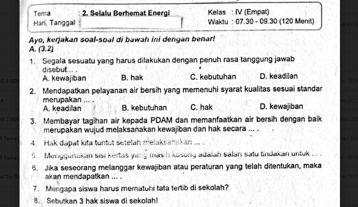 Soal Ulangan Kelas 4 Tema 2 Selalu Berhemat Energi Sekolahdasar Net