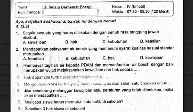Soal Ulangan Kelas 4 Tema 2 Selalu Berhemat Energi