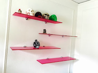 Pink Glass Shelves