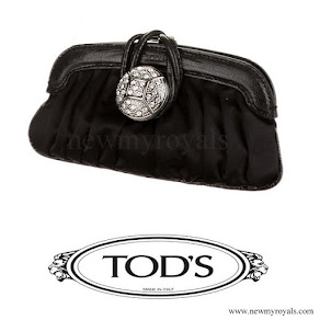 Queen Letizia Style Tod's. Black Satin Clutch