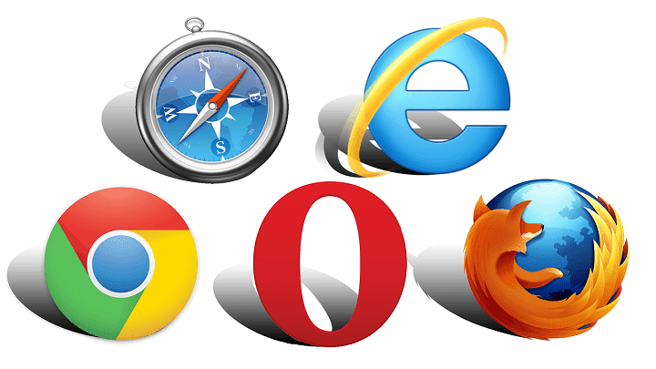 chrome, opera, firefox, safari, internet explorer.
