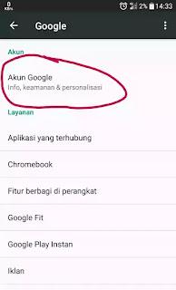 Akun google info keamanan dan personalisai