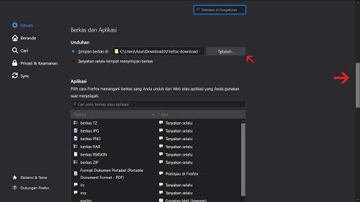Lokasi folder download Mozilla Firefox