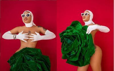 Toyin Lawani Poses Naked With Giant Green Flower To Celebrate Nigeria At 60