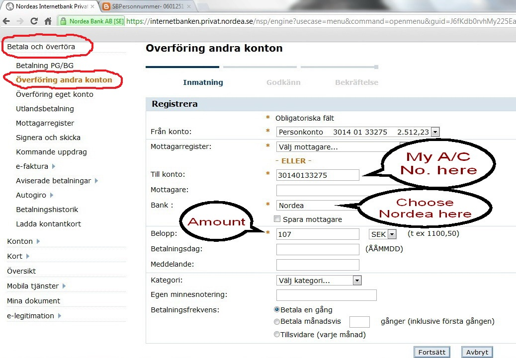 All Swedish Bank Online Transfer Instructions