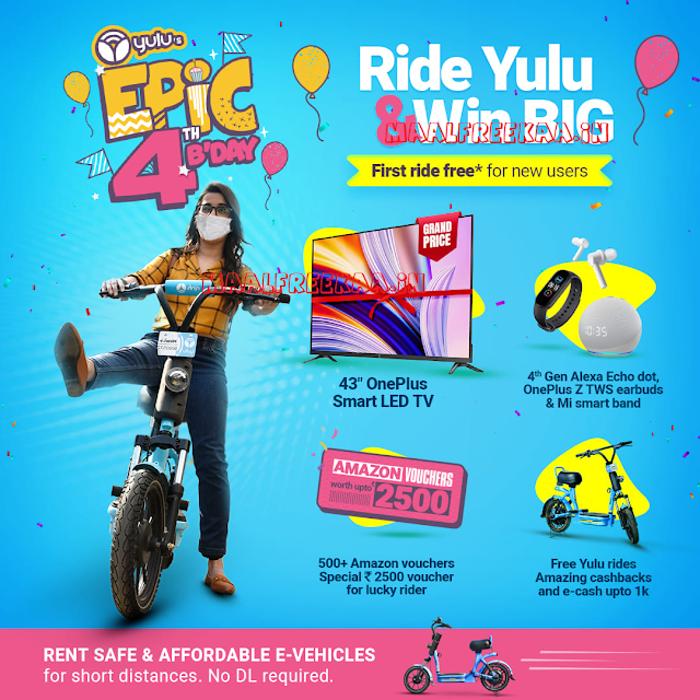 YULU Bike Epic 4th Birthday Contest Win OnePlus TV
