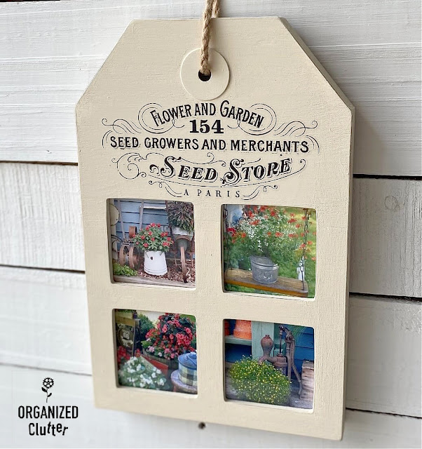 Photo of collage tag frame with flower garden photos and garden design transfer