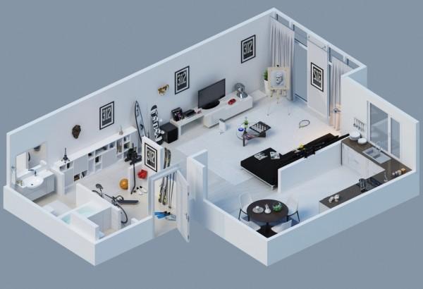 Gambar Denah Apartemen 3D Sederhana Modern