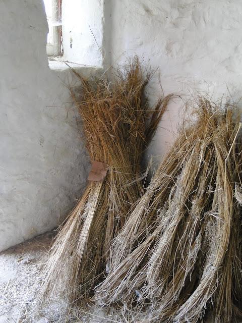 flax bundles in stone room
