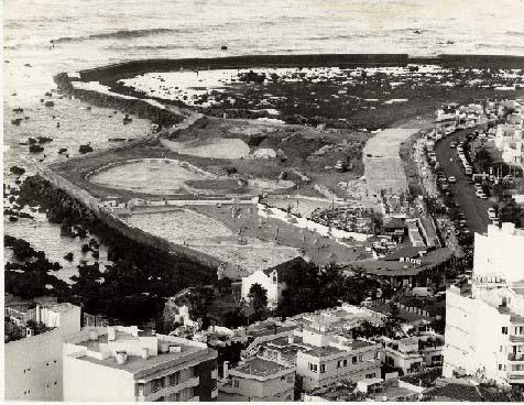 Fotografía histórica de la construcción del Lago