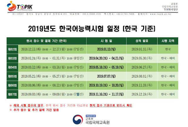 Jadwal Ujian TOPIK 2019~TOPIK 2019 Schedule [2019년도 한국어능력시험 안내]