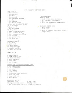 Dartmouth Trips menu from 1977