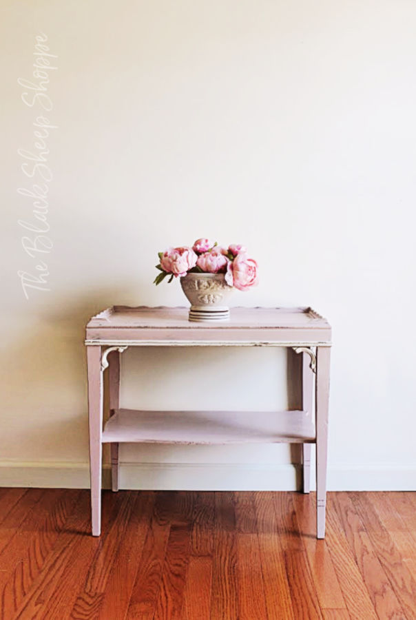Side table painted in Antoinette Pink and Gesso White.