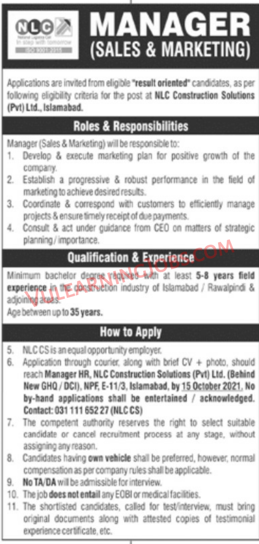 National Logistics Cell NLC Jobs September 2021 For Manager Latest