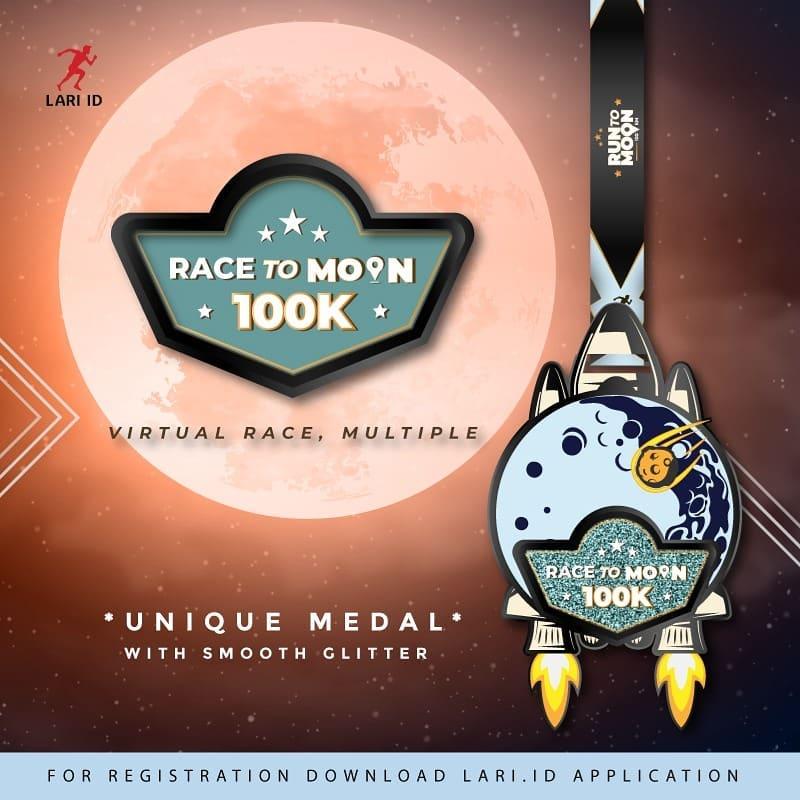 Medali 🏅 Race to Moon 100K - Charity Virtual Race • 2021