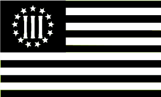 "flag wiith 13 horizontal black and white stripes, black field in upper left corner with thirteen white stars surrounding the numerals ""III"""