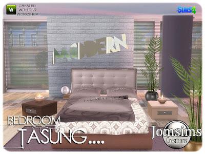 Tasung Bedroom Тасунг Спальня для The Sims 4 очень современная и проработанная линия, в 4 оттенках. двуспальные кровати. двойные подушки деко для кровати. большая подушка деко для кровати. одеяло деко для кровати. 1 торшер металлический шар. конец таблицы. комод со встроенным деко зеркалом. 1 часть 2 для комода Misc Deco Box. коврики. 1 место для сидения Площадь стеновой панели Misc Deco в игре. 3 стиля модерн. 1 настенное зеркало модерн. 1 планета 1 камин простой и современный. Автор: jomsims