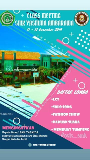 Desain Pamflate Class Meeting SMK Yasmida Ambarawa Tahun 2019
