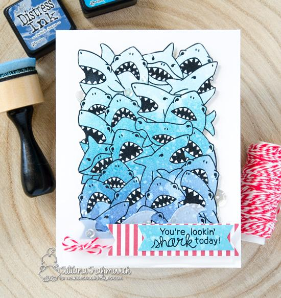 Crowd of Sharks card by Tatiana Trafimovich | Shark Frenzy Stamp Set by Newton's Nook Designs #newtonsnook #handmade
