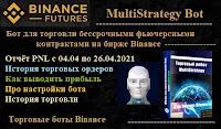 MultiStrategy Bot для бессрочных фьючерсных контрактов биржи Binance - отчёт PNL с 04.04 по 26.04.2021 торговые ордера, вывод прибыли, про настройки