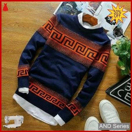 AND317 Sweater Pria Labirin Doty Orange Tribal BMGShop