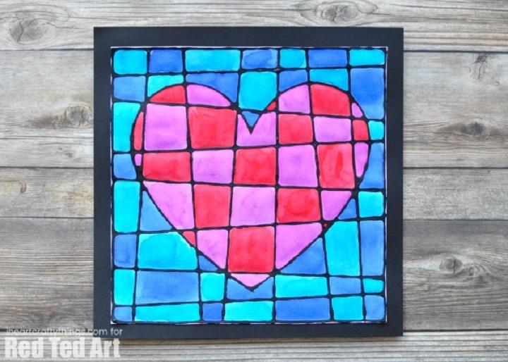 black glue stain glass heart craft