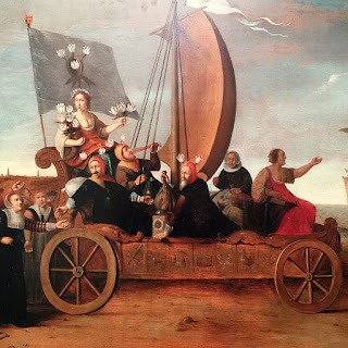 A painting by Henrik Gerritz Pot, 1640, called Flora's Wagon of Fools. It shows people on a wagon with a sail. Many of them are dressed silly and are carrying tulips.