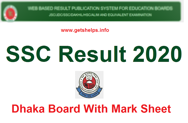SSC result 2020 Dhaka Board with full mark sheet