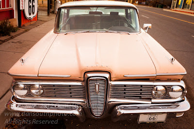 a photo of a ford edsel on historic route 66 in arizona