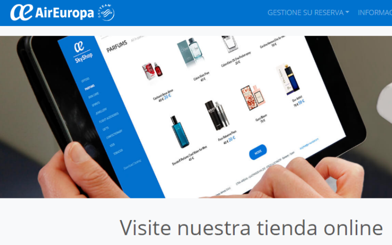 Sky Shop, el catalogo online de Air Europa para compras a bordo