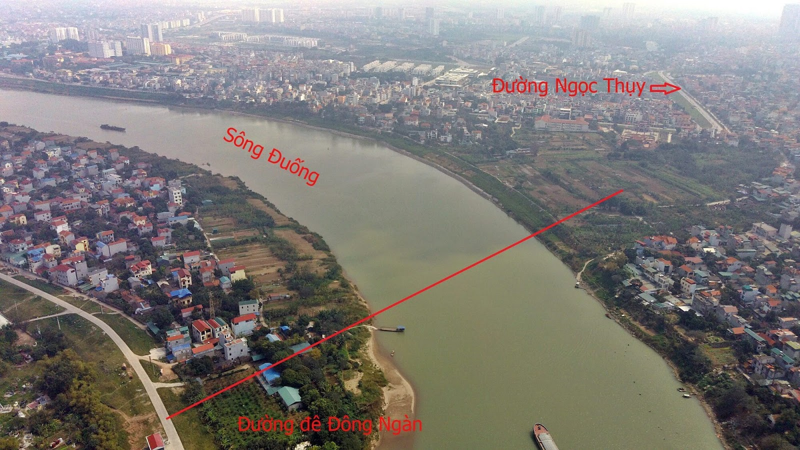 Lộ trình cầu bắc từ Đông Ngàn qua Ngọc Thụy ( Long Biên ).