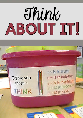 Pinterest Tip: Make a very visual display of Think Before You Speak hints and place it right on your kids' tables.