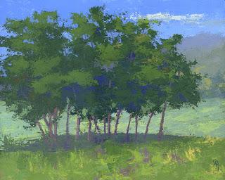 art landscape painting green nature tree open land