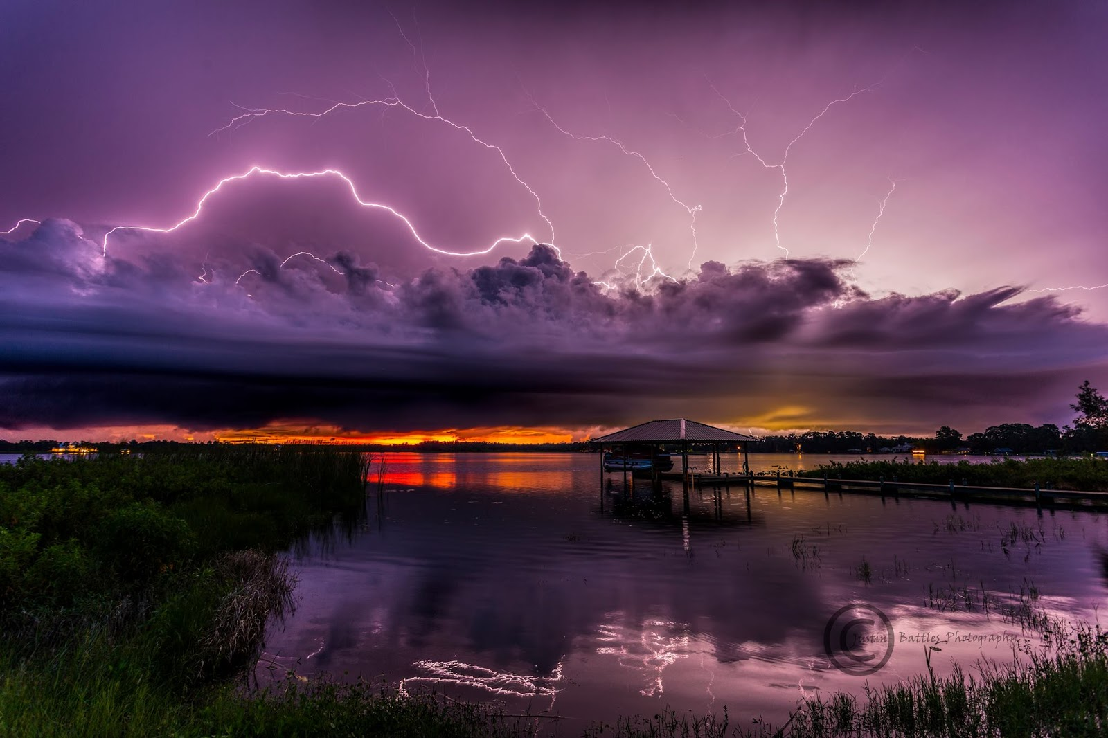 Sunset and lightning at Lake Charlotte in Sebring, Florida