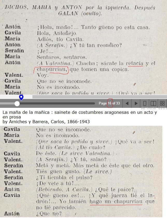 sácate la retacía y el chapurriau, La maña de la mañica, sainete de costumbres aragonesas en un acto y en prosa. Carlos Arniches Barrera, 1866-1943.