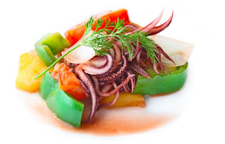 Stir fried squid with vegetable
