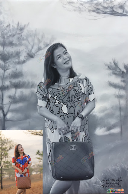 Vẽ chân dung sơn dầu đen trẵng nghệ thuật