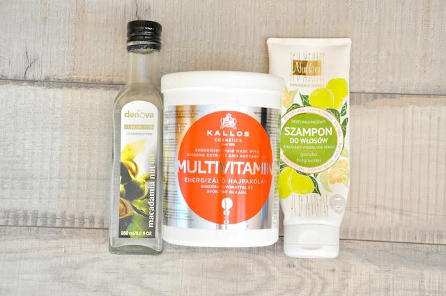 olej macadamia, maska do włosów kallos multivitamin, szampon do włosów przetłuszczających się nutka
