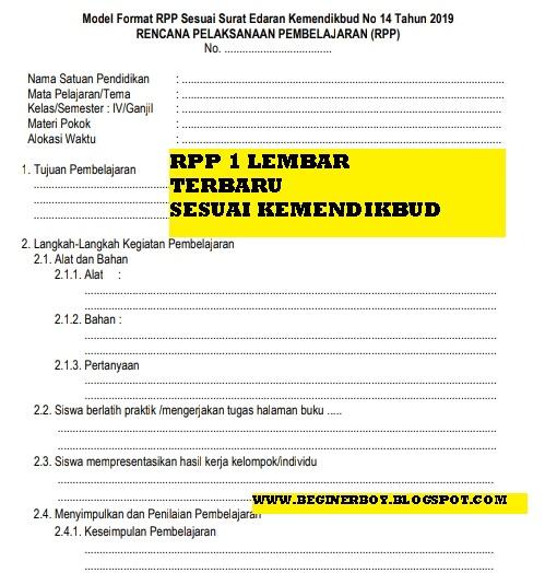 Rpp 1 Lembar Kelas 3 Sd Download Lengkap Untuk Semester 2 Masoyit