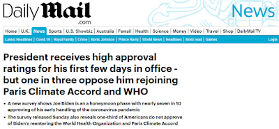 "Daily Mail article reading, ""President receives high approval ratings for his first few days in office - but one in three oppose him rejoining Paris Climate Accord and WHO"""