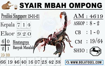 Syair Mbah Ompong SGP Rabu 13-Jan-2021
