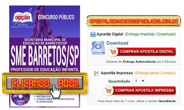 Apostila Concurso Prefeitura de Barretos 2017 PDF Professor de Educação Infantil