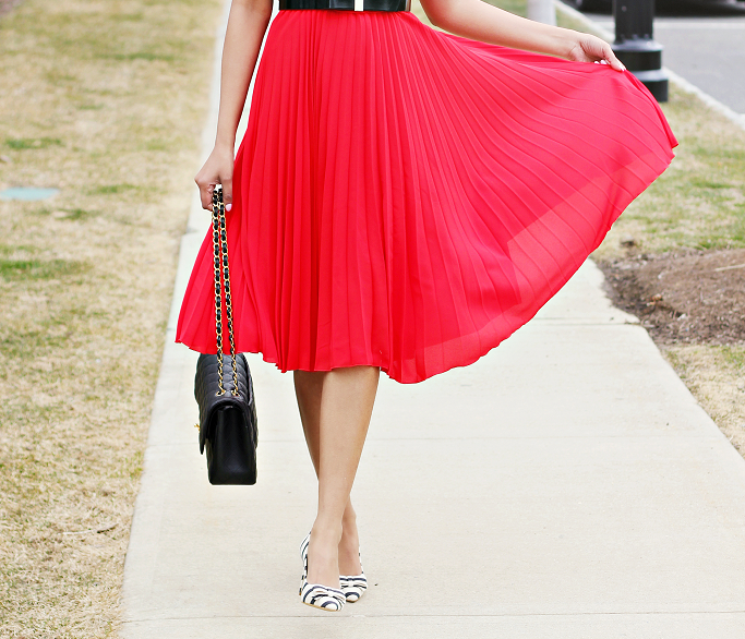 How To Layer A Dress Over A Tshirt, Wear Dress with T shirt, Red dress with pleats, J Crew ruffle sleeve top, Striped pumps, Chanel Jumbo, how to wear dresses over tops